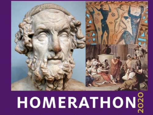Homerathon 2020--Statue of Homer, Pottery picture of Odysseus Blinding Polyphemus, and the Phaecians weeping