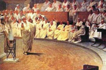 Cicero speaking before the Roman Senate